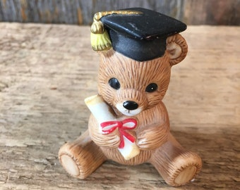 Vintage Homco Graduation bear, Home Interiors porcelain bear, collectible Homco bear, Bear Graduation gift, graduation cake topper, bear