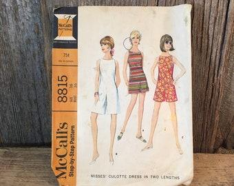 Vintage McCalls 8815, 1967 McCalls culotte dress in two lengths, 1960's culottes, Vintage McCalls culottes sewing pattern, vintage culottes