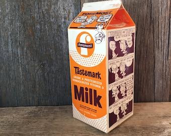 Vintage Foremost milk carton, Horace and Doris milk carton, vintage orange and white kitchen decor, Tastemark Foremost milk carton