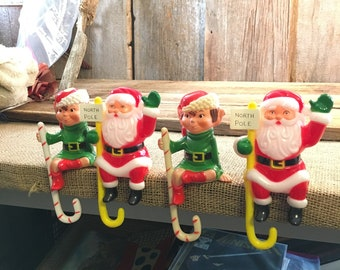 Santa shelf sitter, elf shelf sitter, christmas shelf sitters, vintage Christmas decor, vintage Holiday decor, Christmas mantle decor, JSNY