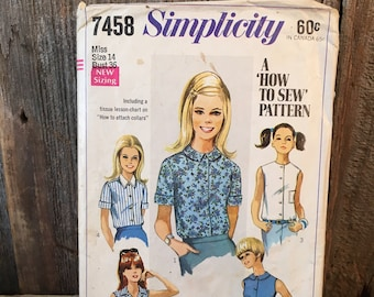 Simplicity sewing pattern for young girls, Simplicity 7458 a how to sew pattern, 1967 sewing pattern for teens,misses blouse size 14 pattern