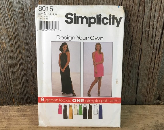 Vintage Simplicity pattern, Simplicity 8015 sewing pattern from 1997, size 10, 12, 14 dress,design your own dress pattern,vintage 90's dress