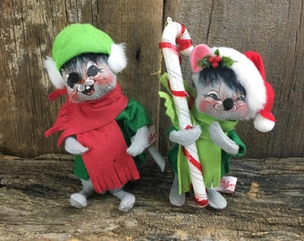 Vintage pair of Anna Lee Christmas mice, highly collectable Anna Lee mice, Anna Lee Christmas ornaments, Anna Lee Holiday mice,Anna Lee mice