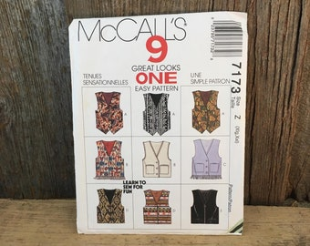Vintage McCalls sewing pattern, McCalls 7173 size large xlarge, McCalls vest pattern, 9 great looks 1 easy pattern, easy vest pattern