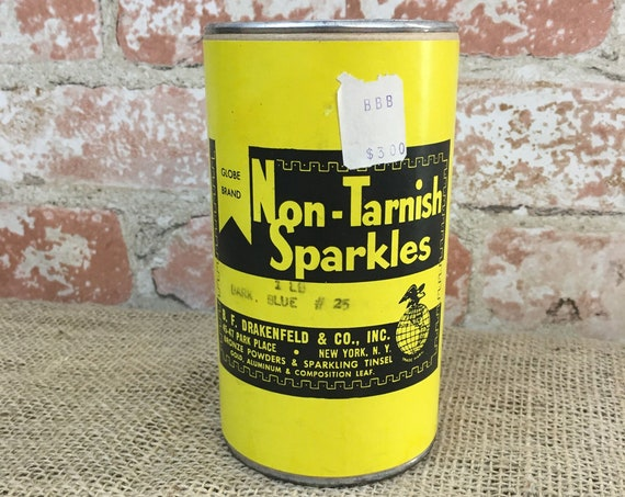 Vintage unopened can of Globe Brand Non-Tarnish Sparkles, one pound of dark blue sparkles, B.F. Drakenfeld & Co sparkles,Park Place New York