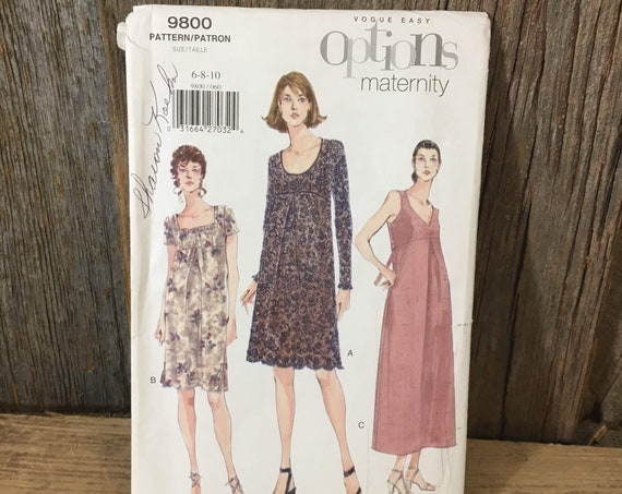 Uncut Vogue options maternity pattern, Vogue 9800 maternity pattern, never used sewing pattern, 1998 pattern, Vogue maternity size 6-10