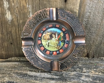 Vintage Roulette wheel ashtray, Virginia City Nevada ashtray, ashtray collectable, novelty ashtray, vintage novelty ashtray, man cave decor