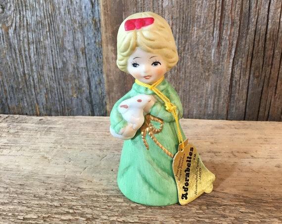 Adorable vintage Adorabelle from Jasco 1978, Fine quality Bisque Porcelain, bell collector, little girl bell, vintage greendecor, girls