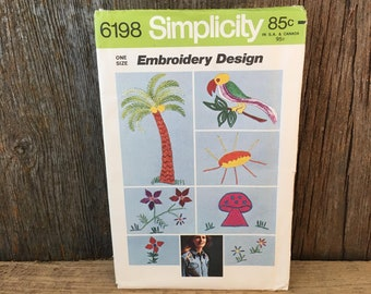 Simplicity 6198 uncut embroidery design pattern, Embroidery Design transfer, transfer pattern for embroidery, palm tree transfer, mushroom