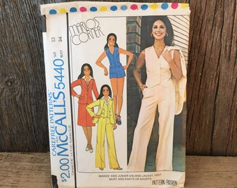 Vintage McCalls pattern, McCalls 5440 Marlos Corners, That Girl pattern, Marlo Thomas inspired pattern, size 12 sewing pattern, 70's pattern