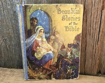 Vintage from 1937 Beautiful Stories of the Bible by Josephine Pollard, world famous masterpieces of Christian art, vintage bible stories