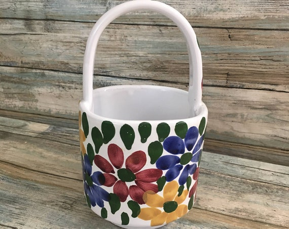 Hand painted made in Italy flower handled pot, Italian hand painted colorful flowered planter, colorful Italian decor, floral decor