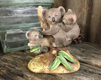 Vintage Enesco Koala bear family figurine, Koala bears in a tee figurine, ceramic Koala bear figurine,Enesco ceramics,Koala bear collectable