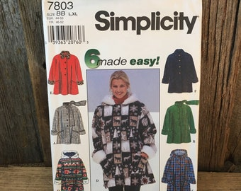 Simplicity 7803 uncut sewing pattern, Simplicity size large and extra large, Simplicity coat pattern, six made easy jackets, jacket pattern