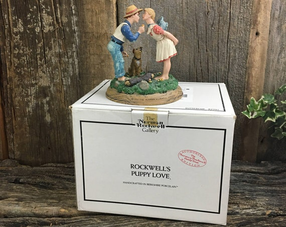 Norman Rockwell Buttercup, Norman Rockwell figurine, Rockwell's Puppy Love Collection, 1991 The Norman Rockwell Gallery, Rockwell Collector