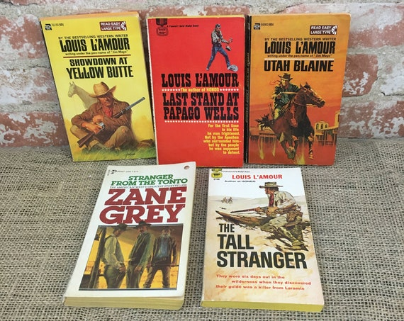 Lot of 1950's Louis L'Amour books and a Zane Grey,The Tall Stranger,Utah Blaine,Showdown at Yellow Butte, Zane Grey,   lot of  Western books