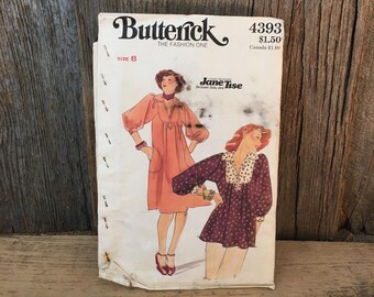 Vintage Butterick sewing pattern, Butterick 4393 size 8, Butterick dress and top sewing pattern,Young designer Jane Tise for Sweet Baby Jane