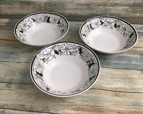 Set of three Mikasa Cera Stone Bouquet bowls, Mikasa replacement bowls, Mikasa bowls, Mikasa black and white floral bowls, Cera Stone Mikasa
