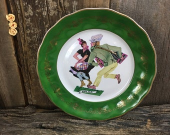 Super cool vintage Polka Plate, made in Poland Karolina Polka plate, green and gold polka plate, dancers gift, Polish gift,mid century plate