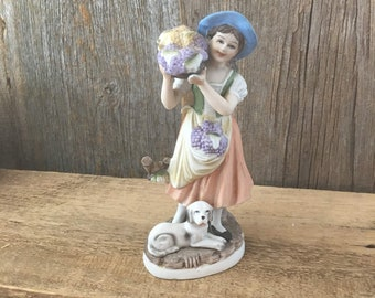Vintage Ardco porcelain figurine, mid century figurine, grape picker figurine, vintage old fashioned figurine, Ardco woman figurine blue hat