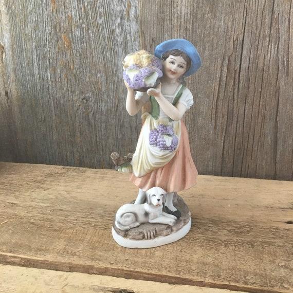 Vintage Ardco porcelain figurine, mid century figurine, grape picker figurine, vintage old fashioned figurine, Ardco woman figurine blue hat