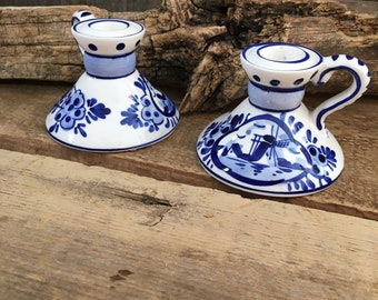Vintage hand painted Delft Blue made in Holland, pair of blue and white delft candlestick holders, Delft Blue candlestick holders, holland