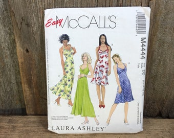 Easy McCalls pattern, McCalls M444 Laura Ashley pattern, Misses summer dresses in two lengths, summer dress pattern, Laura Ashley design