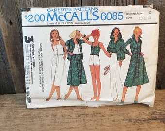 Vintage McCalls pattern 6085 from 1978, partially cut sewing pattern, summer outfits 1970's sewing pattern, size 10, 12,14 sewing pattern