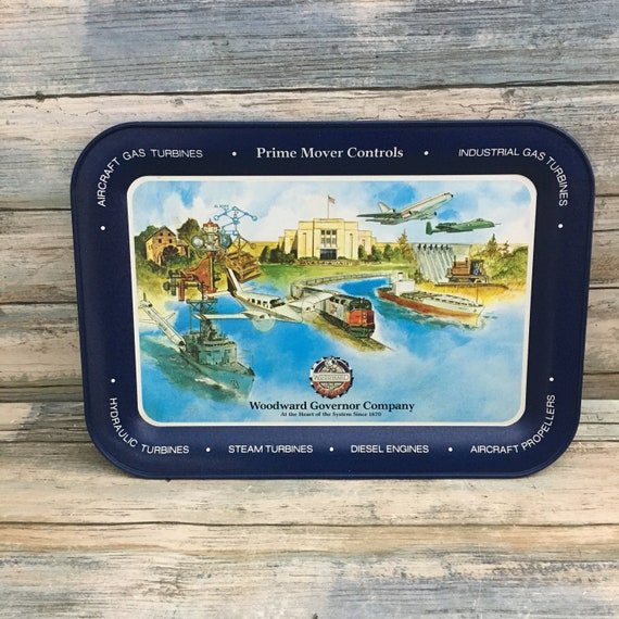 Woodward Governor advertising collector tray, Woodward Governor advertising tray, trains planes and boat tray, aircraft serving tray