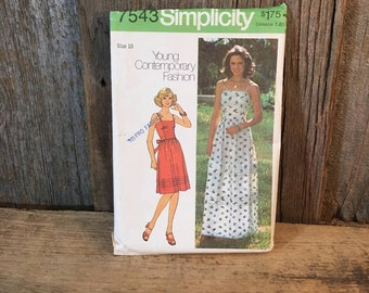 Vintage Simplicity pattern 7543, Young contemporary fashion sewing pattern, size 10 sewing pattern, vintage dress two lengths sewing pattern