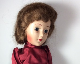 Vintage sleepy eyed doll, vintage marching band doll, 1950's doll, beautiful doll face, vintage band doll, sleepy eyed doll from the past