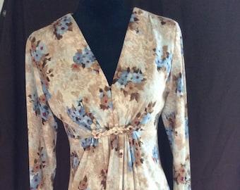 Vintage boho handmade dress, mod dress, 1970's handmade polyester floor length dress, super comfortable vintage hand sewn boho dress
