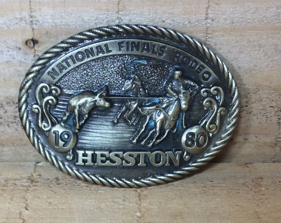 Hesston National Finals Rodeo Commemorative 1980 belt buckle, vintage NFR buckle, New vintage Rodeo belt buckle, Fathers Day, gift for him