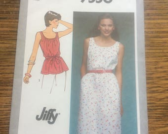 Vintage Simplicity pattern 9556 from 1980, Simplicity pattern #9556 uncut 2.00 US shipping Misses Jiffy pullover dress or top vintage sewing