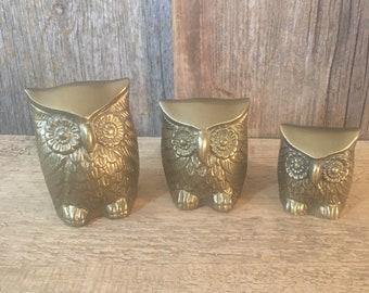 Vintage 1970's Leonard solid brass collection of owls, trio of brass owls, Leonard owls, retro owl decor, mod owl decor, brass decor