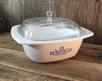 Vintage Corning ware Dutch Oven, Corning Ware P 34 B,  Corning Ware blue cornflower Dutch oven, 4 quart Corning Ware, retro kitchen