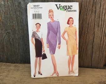 Vintage Vogue sewing pattern, Vogue 9697,  Butterick vogue 9697,  Vogue pattern size 8-12, Vogue lined pullover dress pattern from the 90's