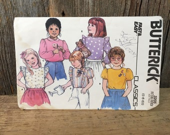 Vintage little girls sewing pattern size 5, 6 and 6x, Butterick 3205, 1985 childrens top pattern, fast and easy Butterick girls tops