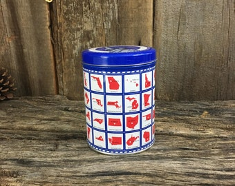 Limited Edition Statue of Liberty State Capitals tin, Valleybrook farms cookie tin,vintage tin collector,State Capitals Chocolate cookie tin