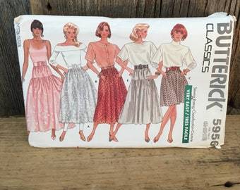 Vintage uncut Butterick 5956 sewing pattern, size 18-22 skirt pattern, uncut sewing pattern, Butterick classics sewing pattern,skirt pattern