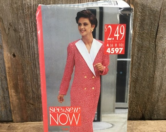 Vintage See n Sew Butterick 4597 from 1990 uncut, beautiful classy 90's dress pattern, See N Sew Now pattern, Butterick 4597 dress pattern