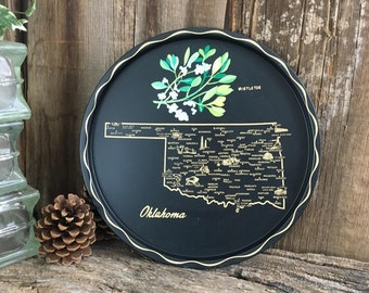 Vintage State of Oklahoma serving tray, vintage serving tray, Oklahoma Mistletoe decor, Oklahoma memorabilia, tray collector, state tray