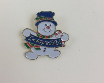 Pinback collectors, I'm appreciated snowman, Christmas pin, holiday pin, positive promotions pin, vintage snowman pinback