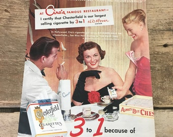 Vintage from 1952 Chesterfield cigarette ad from Woman's Day Magazine, vintage advertisement,