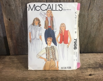 Vintage McCalls pattern, McCalls 7986 sewing pattern, cut size 12, bust 34, McCalls unlined vest sewing pattern, 1980''s sewing pattern