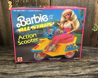 Super Vintage Barbie and the All Stars Action Scooter, new in box Barbie Action Scooter, Vintage Mattel Barbie scooter, 1989 Barbie Scooter
