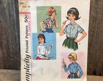 Vintage girls blouse sewing pattern, 1960's Simplicity pattern 5122, Simplicity printed pattern, girls size 14 blouses, retro little girls