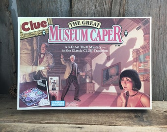 Clue The Great Museum Caper 3D board game, vintage Museum Caper game, a 3d art theft mystery game, vintage Parker Brothers Clue game