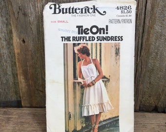 Butterick sundress sewing pattern 4826, 1970's vintage Butterick 4826, Butterick tie on dress the ruffled sundress,sundress sewing pattern,