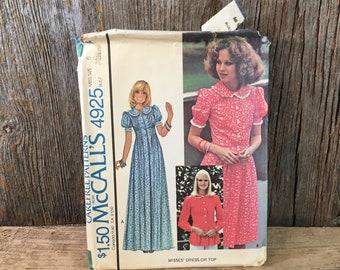 Vintage McCalls pattern 4925 from 1976, Prairie dress pattern, McCalls size 6 1970's dress pattern, ruffled dress pattern, complete pattern